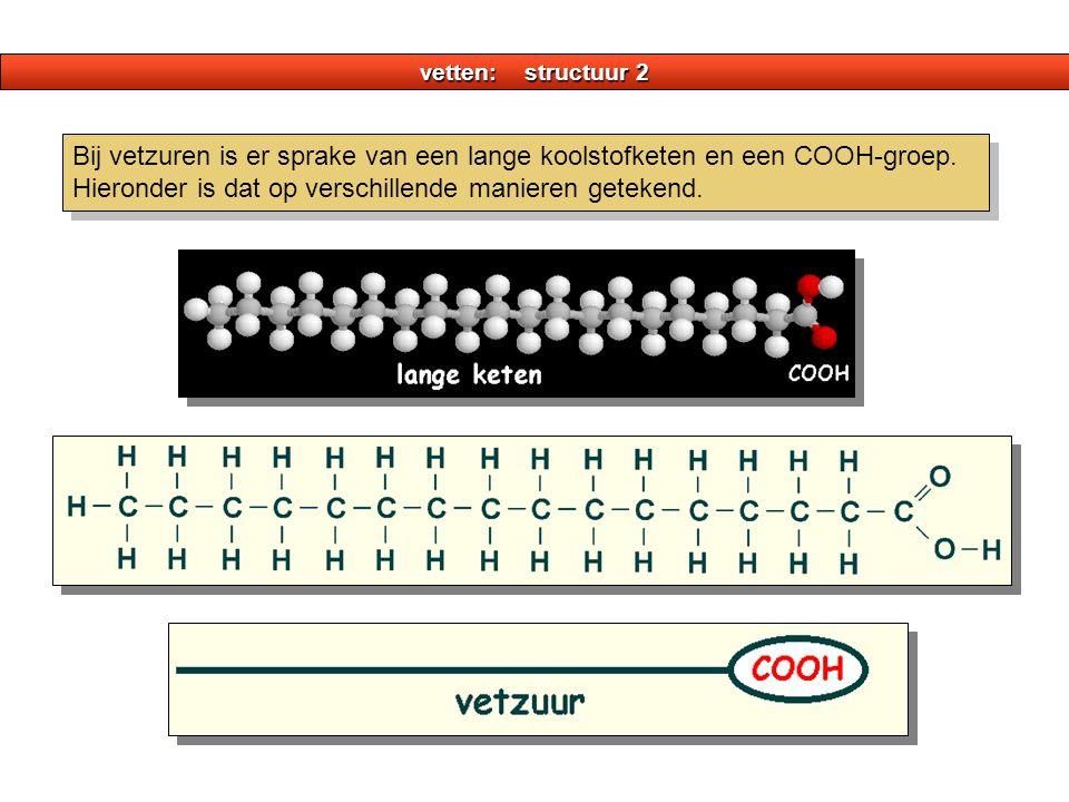 vetten: structuur 2 Bij vetzuren is er sprake van een lange koolstofketen en een COOH-groep.