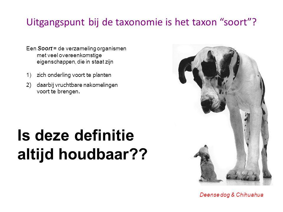 Uitgangspunt bij de taxonomie is het taxon soort