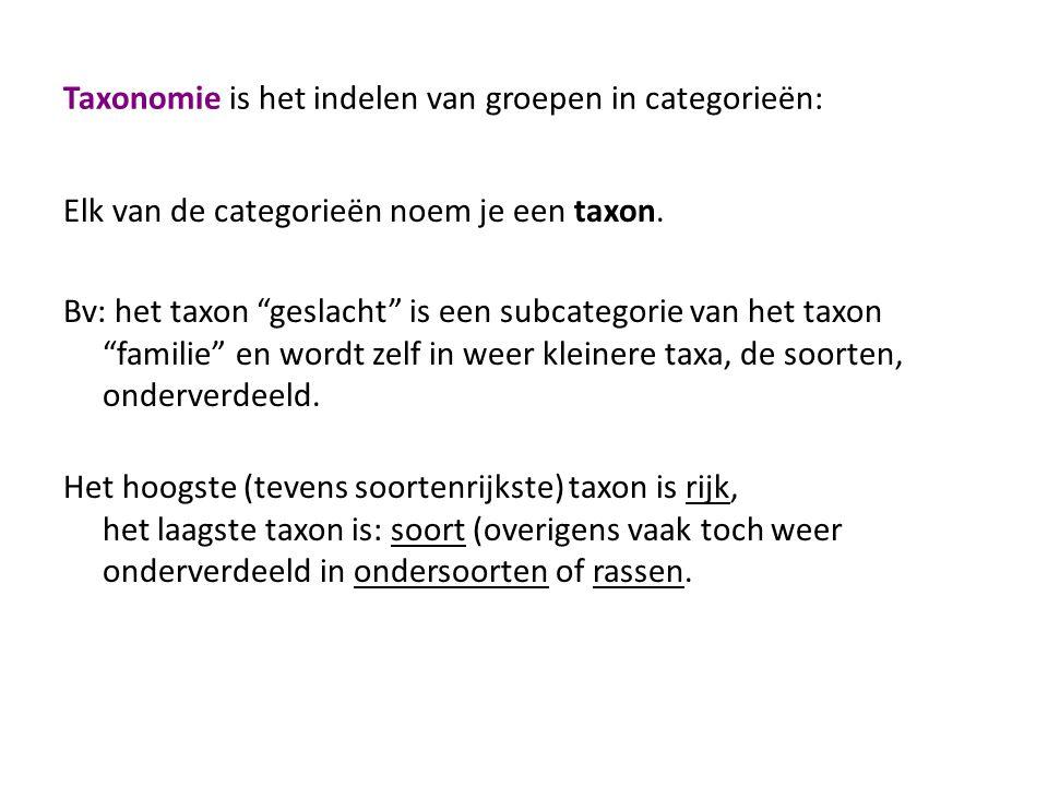 Taxonomie is het indelen van groepen in categorieën: