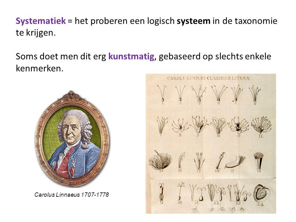 Systematiek = het proberen een logisch systeem in de taxonomie te krijgen. Soms doet men dit erg kunstmatig, gebaseerd op slechts enkele kenmerken.