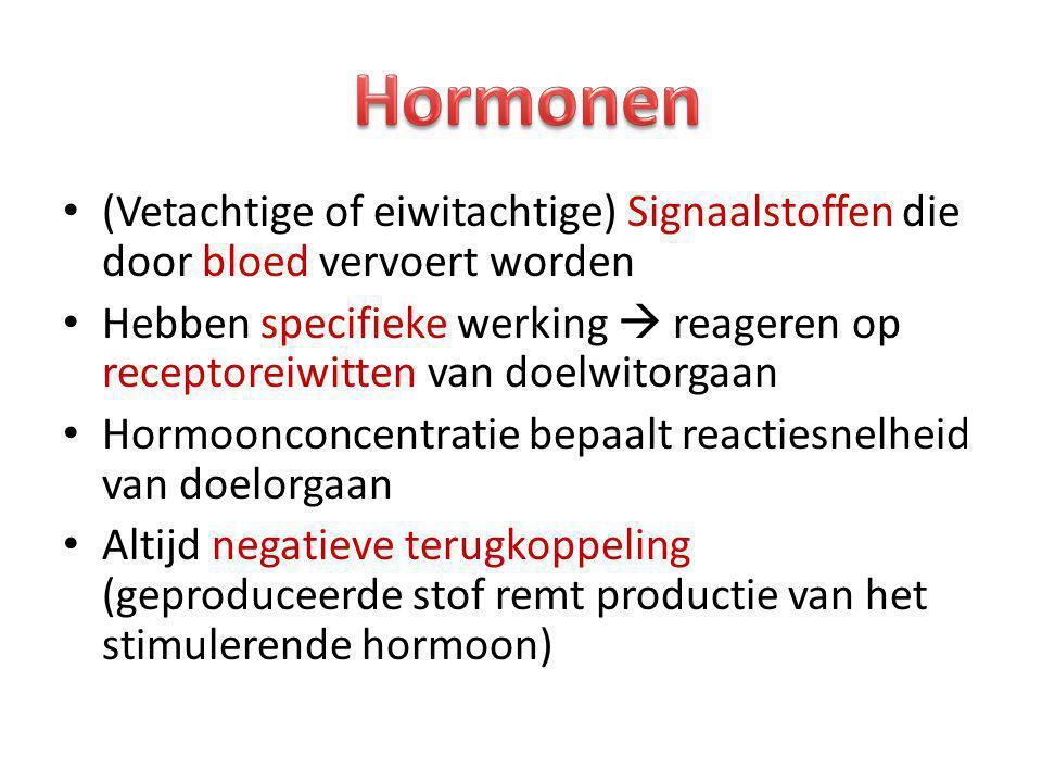 Hormonen (Vetachtige of eiwitachtige) Signaalstoffen die door bloed vervoert worden.