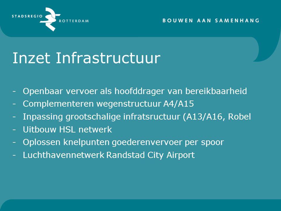 Inzet Infrastructuur Openbaar vervoer als hoofddrager van bereikbaarheid. Complementeren wegenstructuur A4/A15.