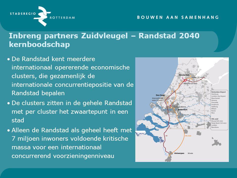 Inbreng partners Zuidvleugel – Randstad 2040 kernboodschap