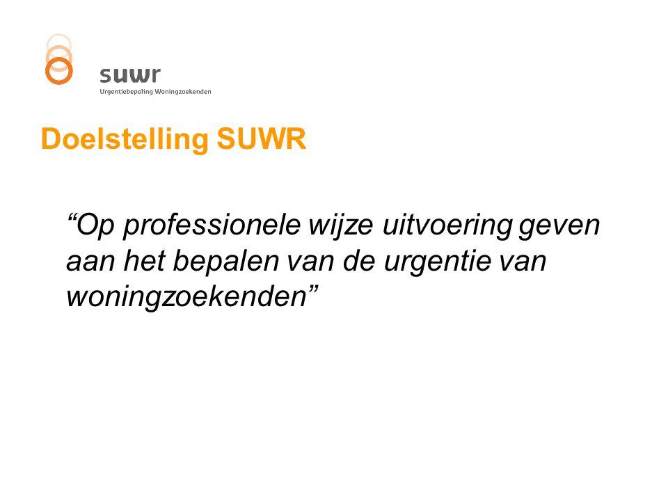 Doelstelling SUWR Op professionele wijze uitvoering geven aan het bepalen van de urgentie van woningzoekenden
