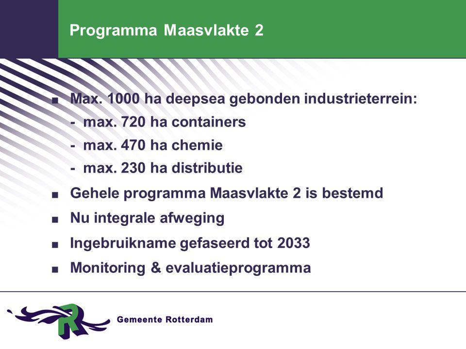 Programma Maasvlakte 2 Max. 1000 ha deepsea gebonden industrieterrein: - max. 720 ha containers - max. 470 ha chemie - max. 230 ha distributie.
