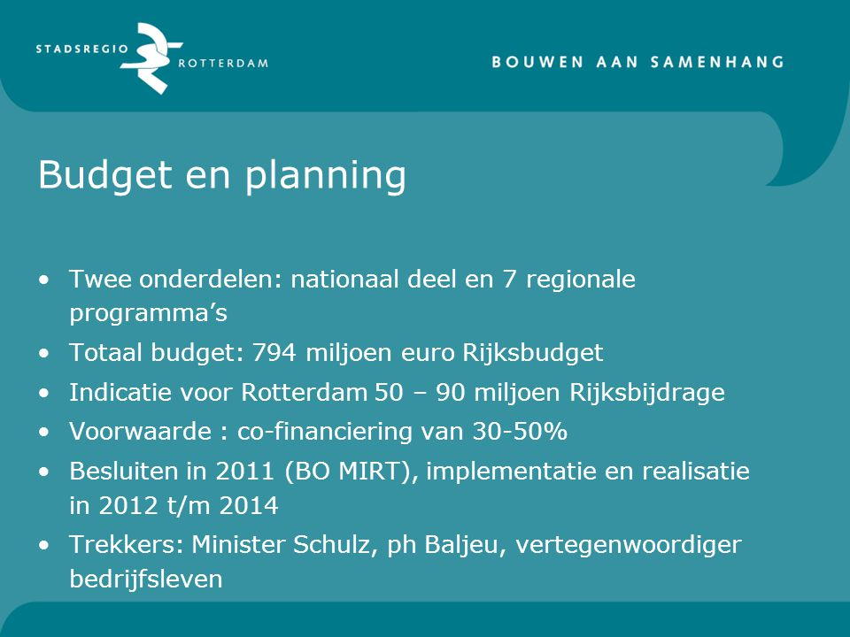 Budget en planning Twee onderdelen: nationaal deel en 7 regionale programma's. Totaal budget: 794 miljoen euro Rijksbudget.
