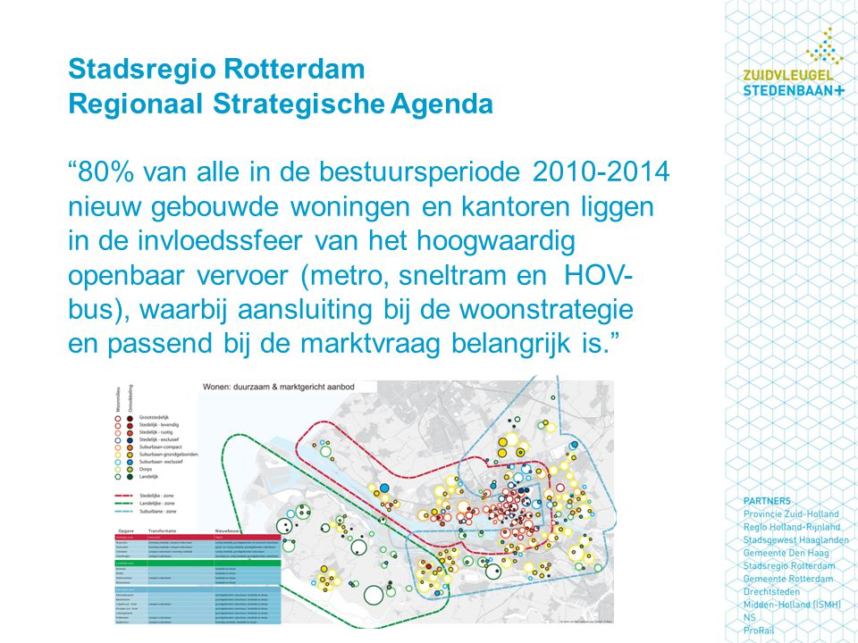 Stadsregio Rotterdam Regionaal Strategische Agenda 80% van alle in de bestuursperiode 2010-2014 nieuw gebouwde woningen en kantoren liggen in de invloedssfeer van het hoogwaardig openbaar vervoer (metro, sneltram en HOV-bus), waarbij aansluiting bij de woonstrategie en passend bij de marktvraag belangrijk is.