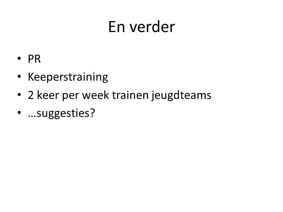 En verder PR Keeperstraining 2 keer per week trainen jeugdteams