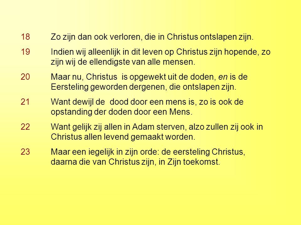 18 Zo zijn dan ook verloren, die in Christus ontslapen zijn.