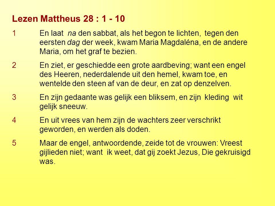 Lezen Mattheus 28 : 1 - 10