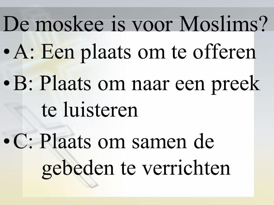 De moskee is voor Moslims