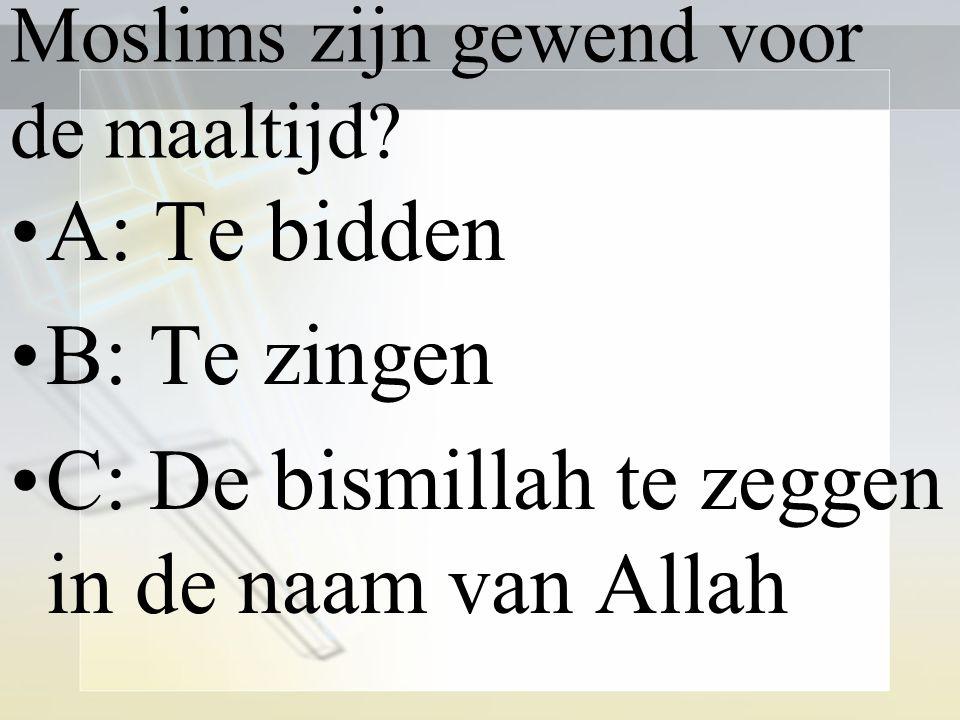 Moslims zijn gewend voor de maaltijd