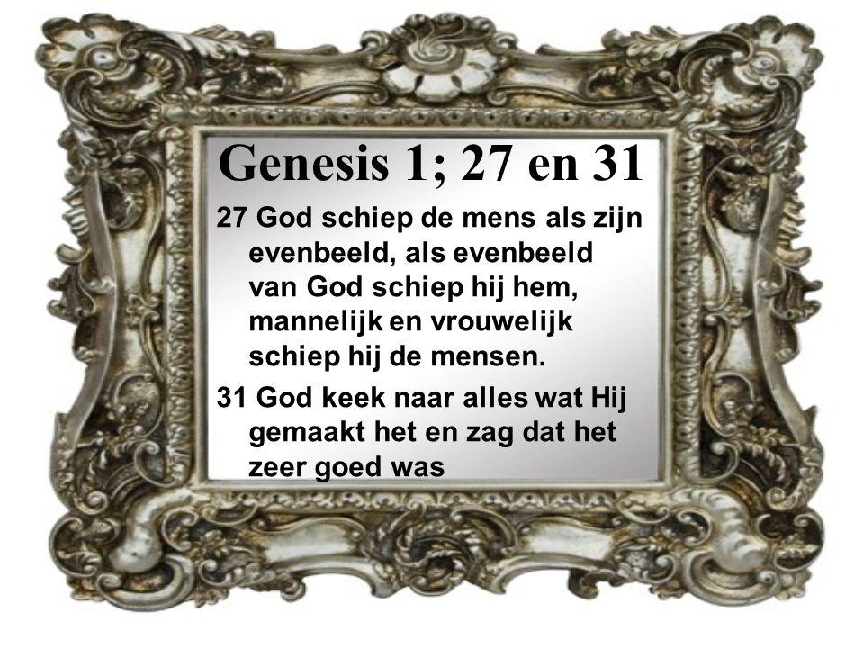Genesis 1; 27 en 31 27 God schiep de mens als zijn evenbeeld, als evenbeeld van God schiep hij hem, mannelijk en vrouwelijk schiep hij de mensen.