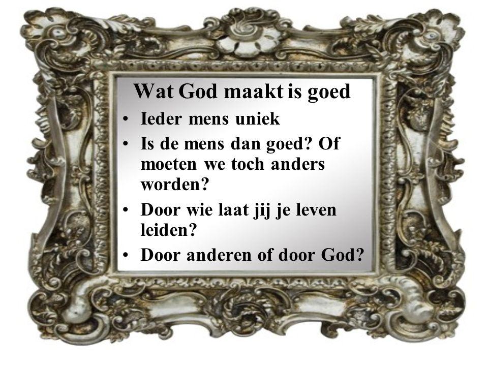 Wat God maakt is goed Ieder mens uniek