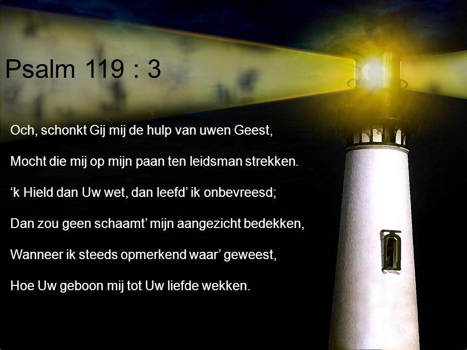 Psalm 119 : 3 Och, schonkt Gij mij de hulp van uwen Geest,
