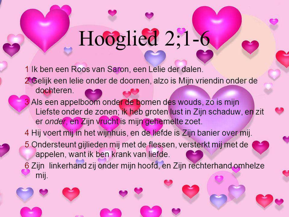 Hooglied 2;1-6 1 Ik ben een Roos van Saron, een Lelie der dalen.