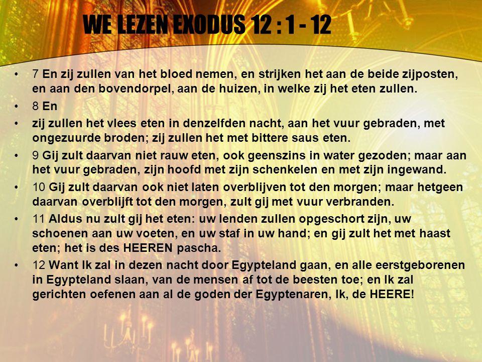 WE LEZEN EXODUS 12 : 1 - 12