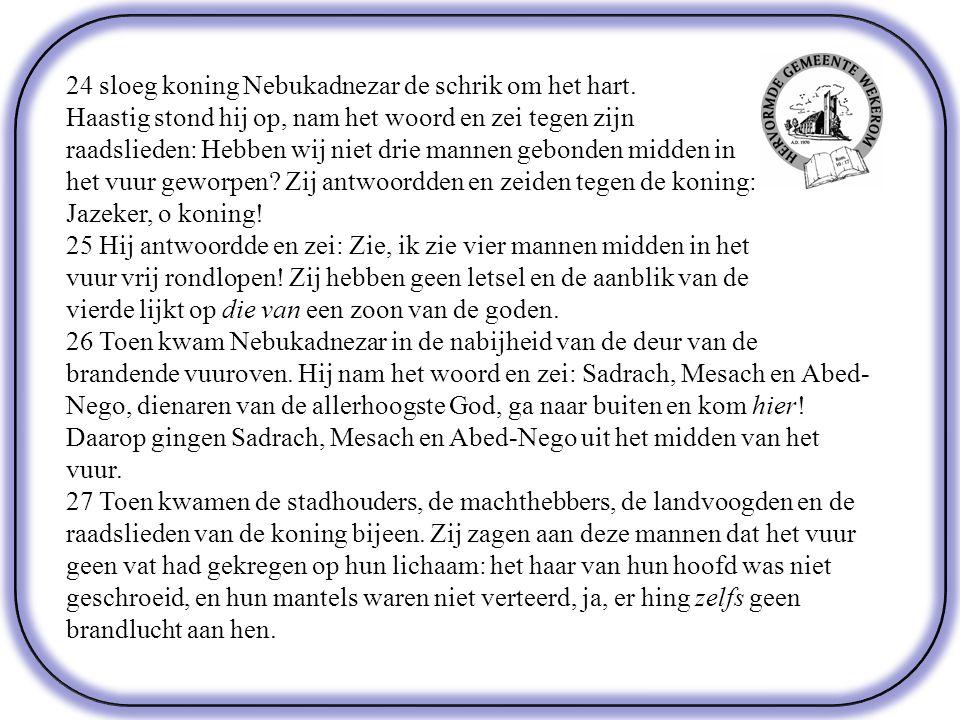 24 sloeg koning Nebukadnezar de schrik om het hart.