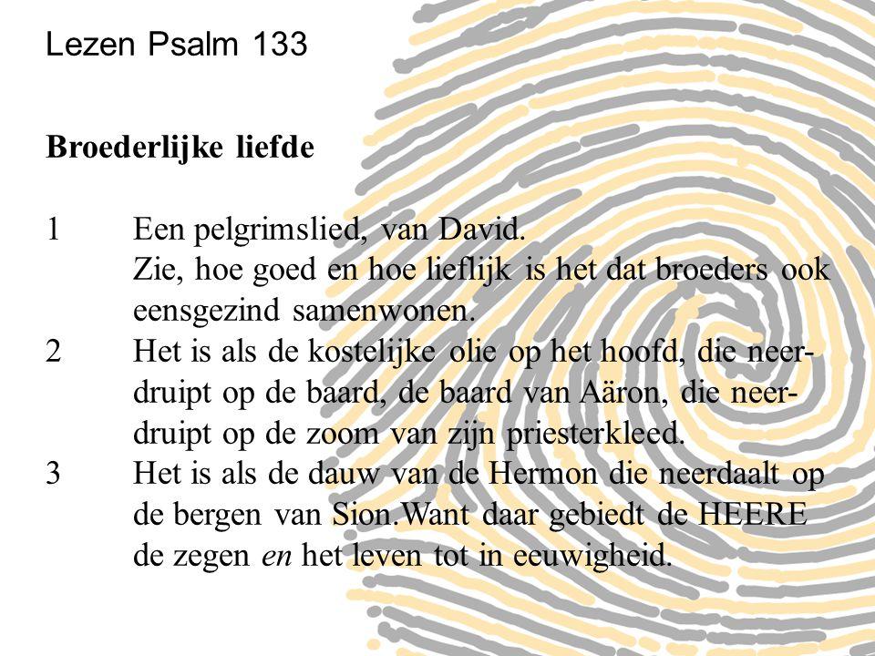 Lezen Psalm 133 Broederlijke liefde. 1 Een pelgrimslied, van David. Zie, hoe goed en hoe lieflijk is het dat broeders ook eensgezind samenwonen.