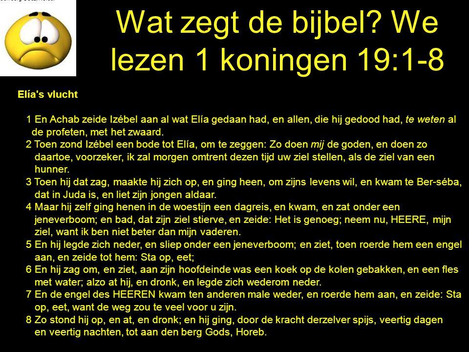 Wat zegt de bijbel We lezen 1 koningen 19:1-8