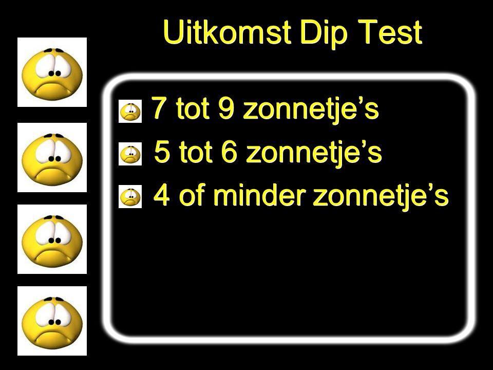 Uitkomst Dip Test 5 tot 6 zonnetje's 4 of minder zonnetje's