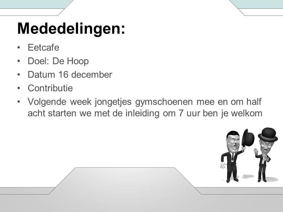 Mededelingen: Eetcafe Doel: De Hoop Datum 16 december Contributie