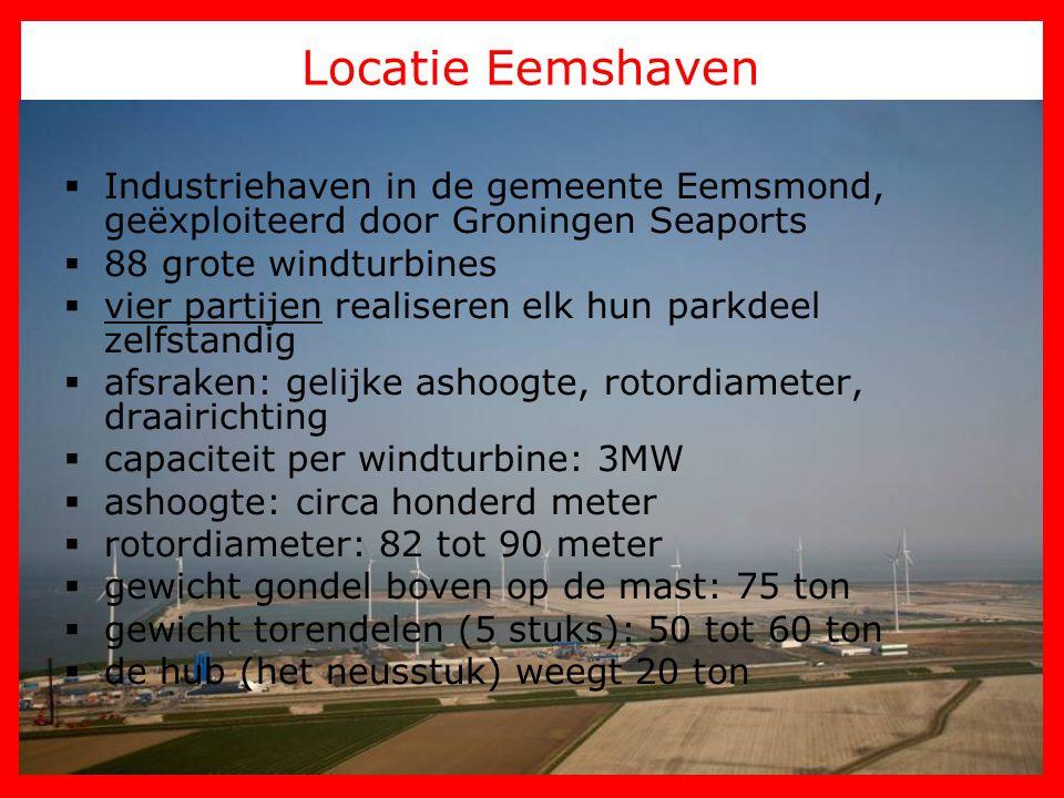 Locatie Eemshaven Industriehaven in de gemeente Eemsmond, geëxploiteerd door Groningen Seaports. 88 grote windturbines.