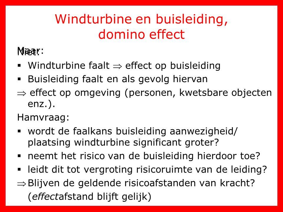 Windturbine en buisleiding, domino effect
