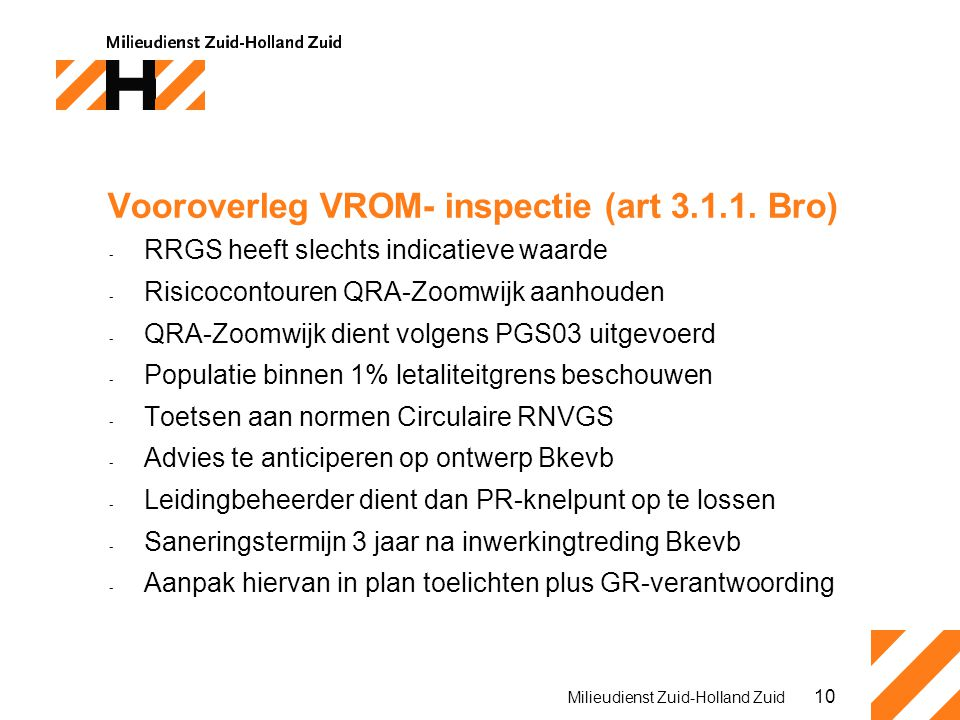 Vooroverleg VROM- inspectie (art 3.1.1. Bro)