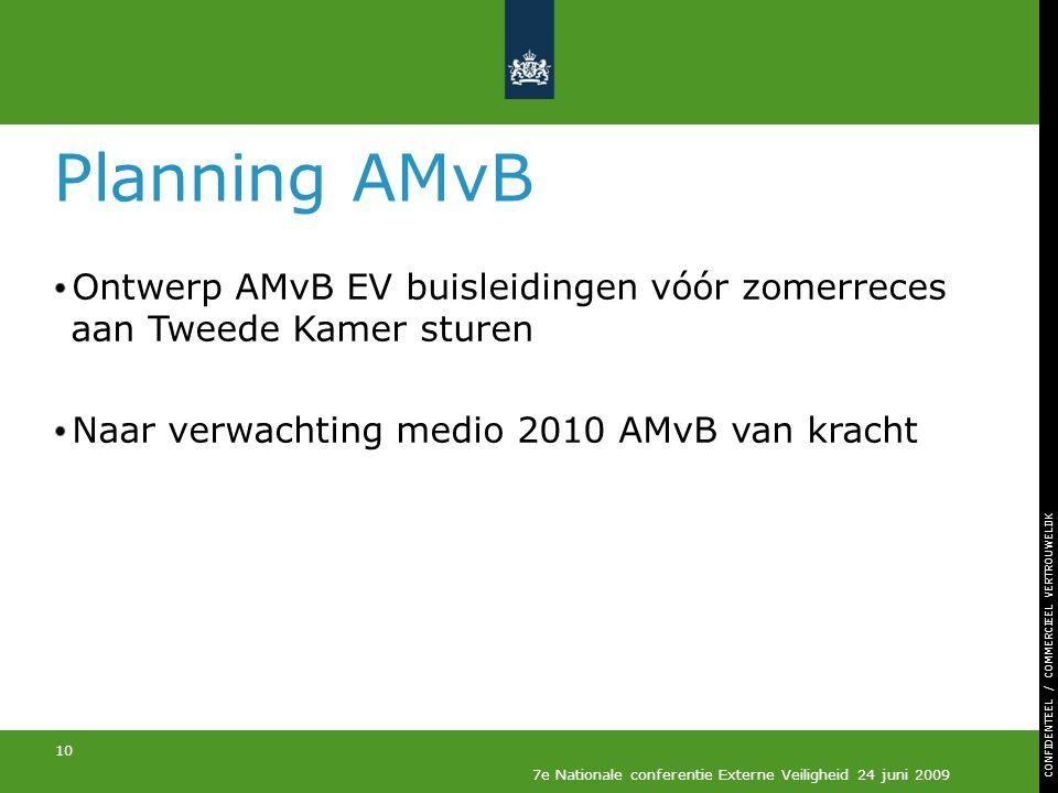 Planning AMvB Ontwerp AMvB EV buisleidingen vóór zomerreces aan Tweede Kamer sturen. Naar verwachting medio 2010 AMvB van kracht.