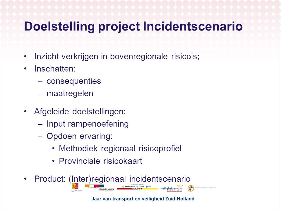 Doelstelling project Incidentscenario