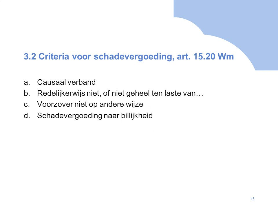 3.2 Criteria voor schadevergoeding, art. 15.20 Wm