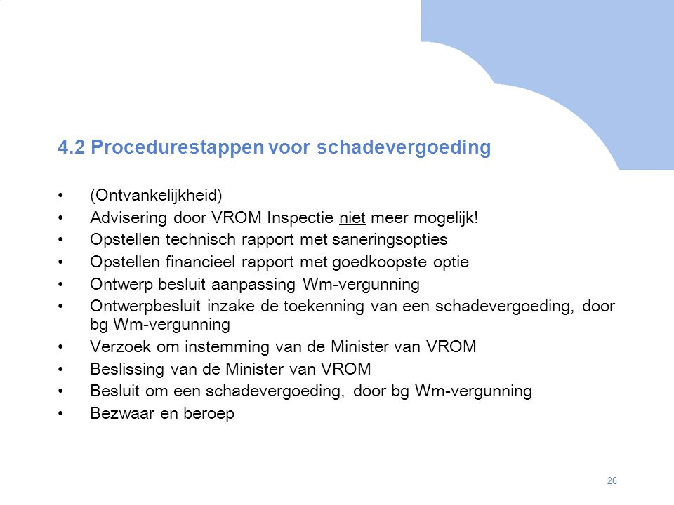4.2 Procedurestappen voor schadevergoeding