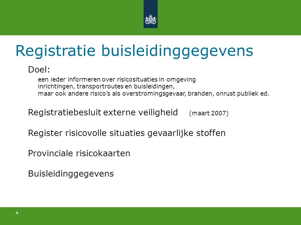 Registratie buisleidinggegevens
