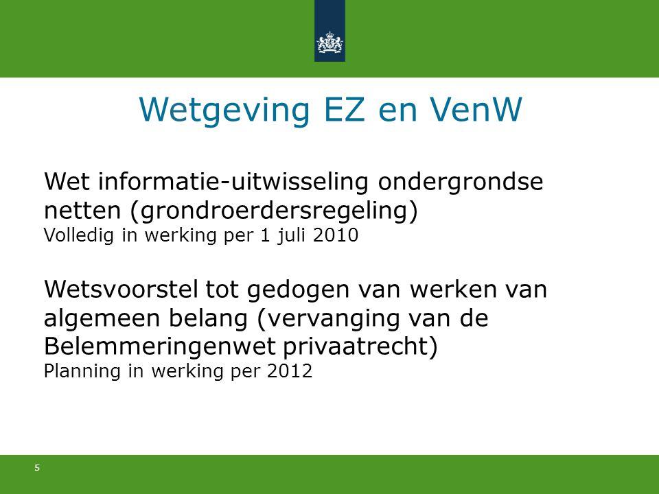Wetgeving EZ en VenW Wet informatie-uitwisseling ondergrondse netten (grondroerdersregeling) Volledig in werking per 1 juli 2010.