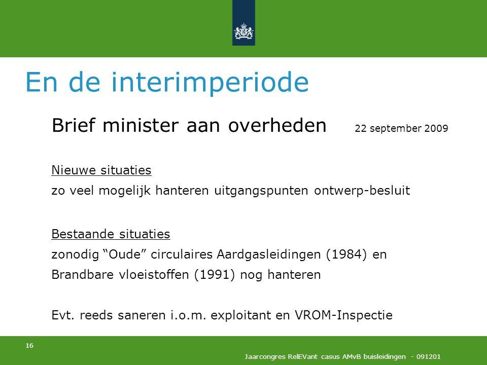 En de interimperiode Brief minister aan overheden 22 september 2009