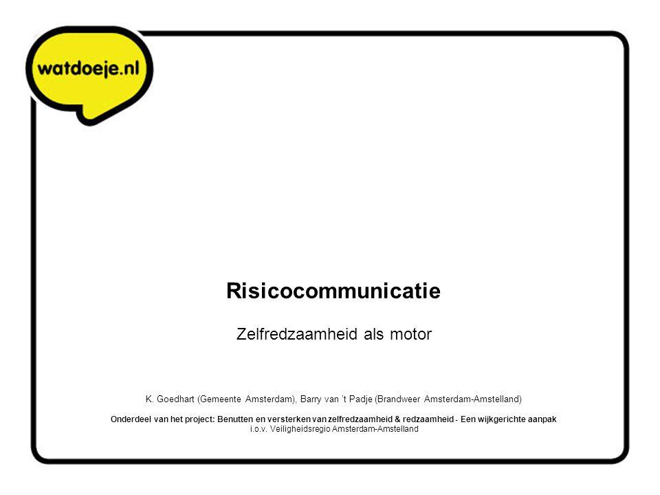 Risicocommunicatie Zelfredzaamheid als motor