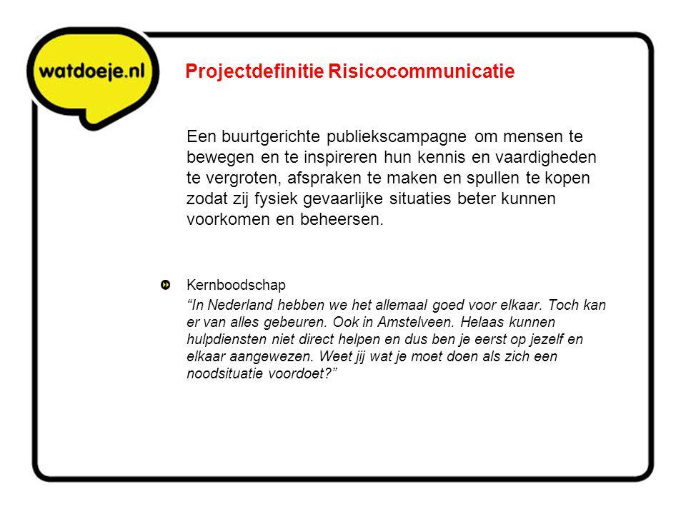 Projectdefinitie Risicocommunicatie