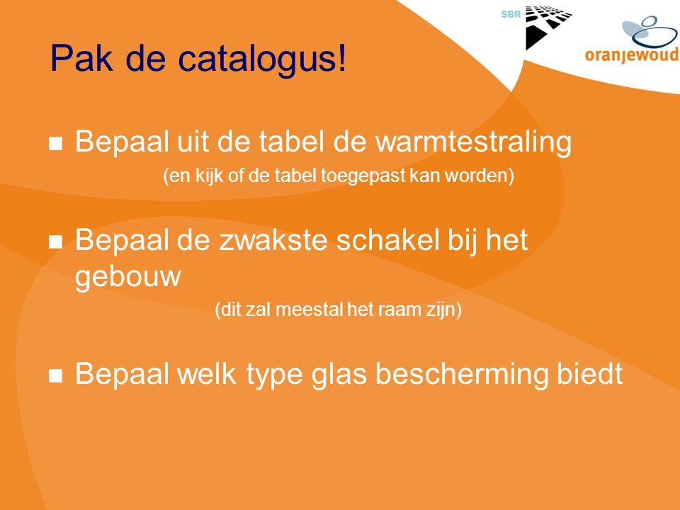 Pak de catalogus! Bepaal uit de tabel de warmtestraling