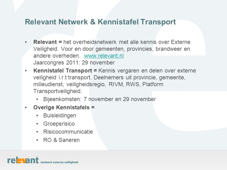 Relevant Netwerk & Kennistafel Transport