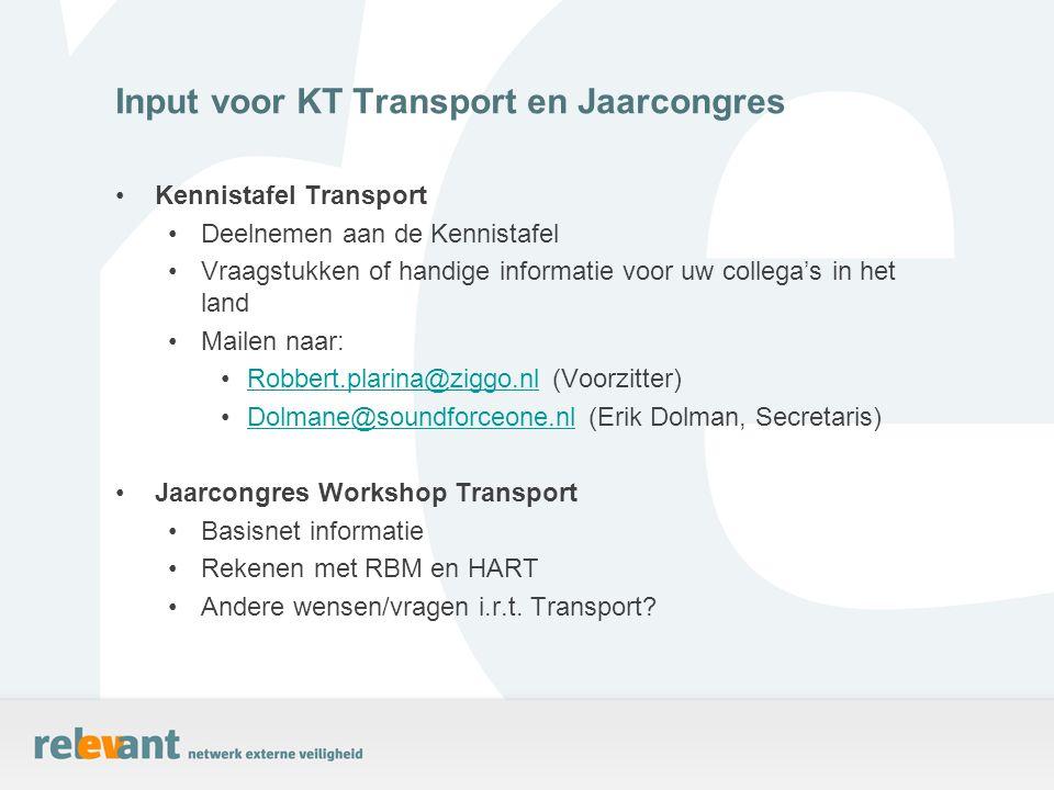 Input voor KT Transport en Jaarcongres