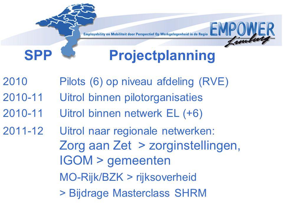 SPP Projectplanning 2010 Pilots (6) op niveau afdeling (RVE)