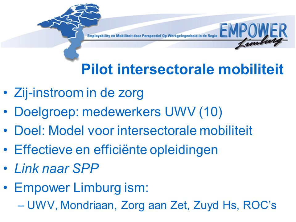 Pilot intersectorale mobiliteit