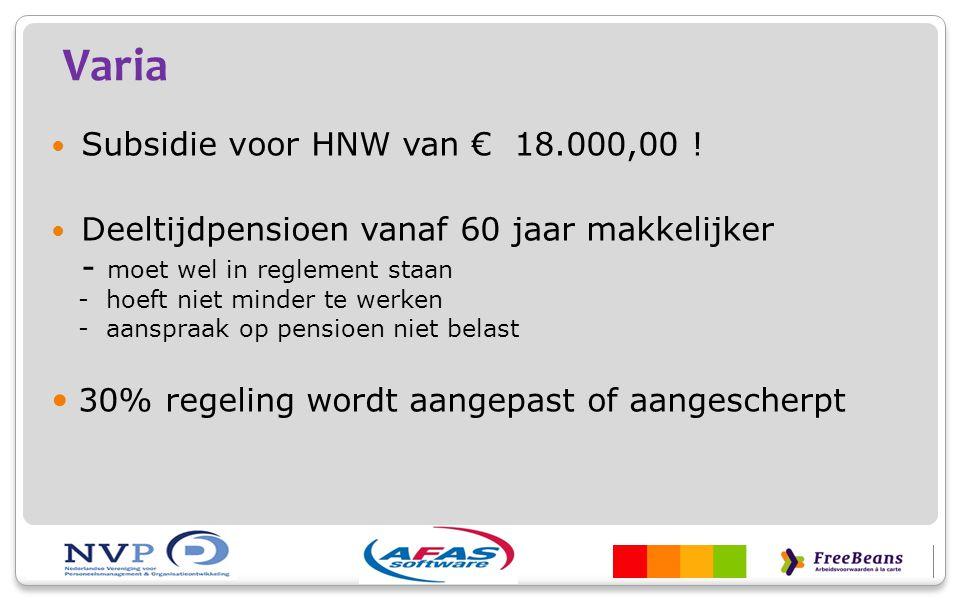 Varia Subsidie voor HNW van € 18.000,00 !
