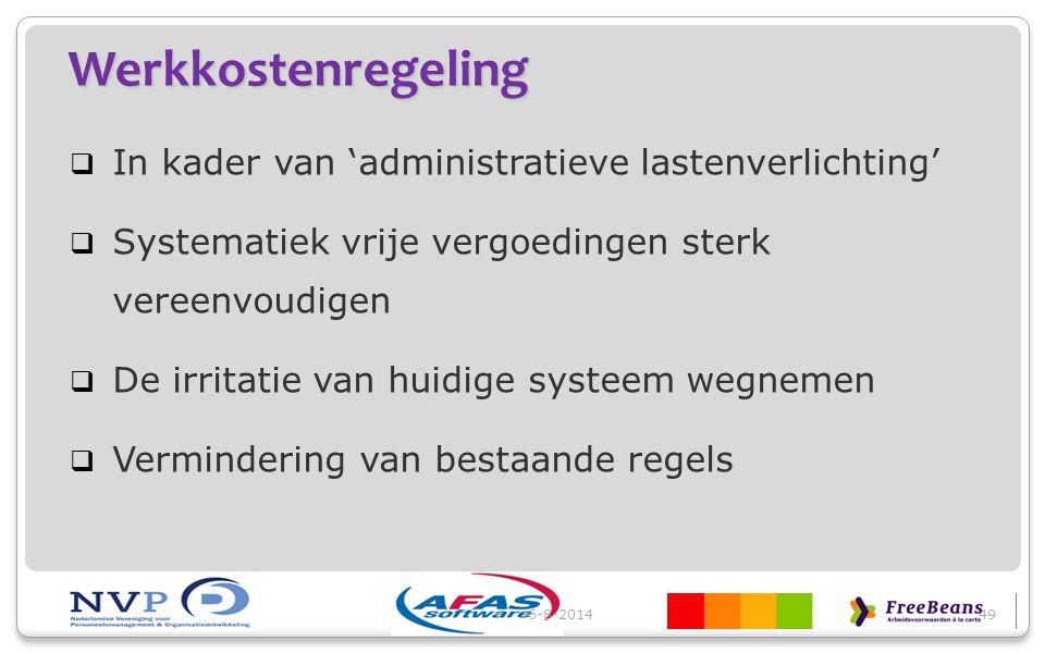 Werkkostenregeling In kader van 'administratieve lastenverlichting'