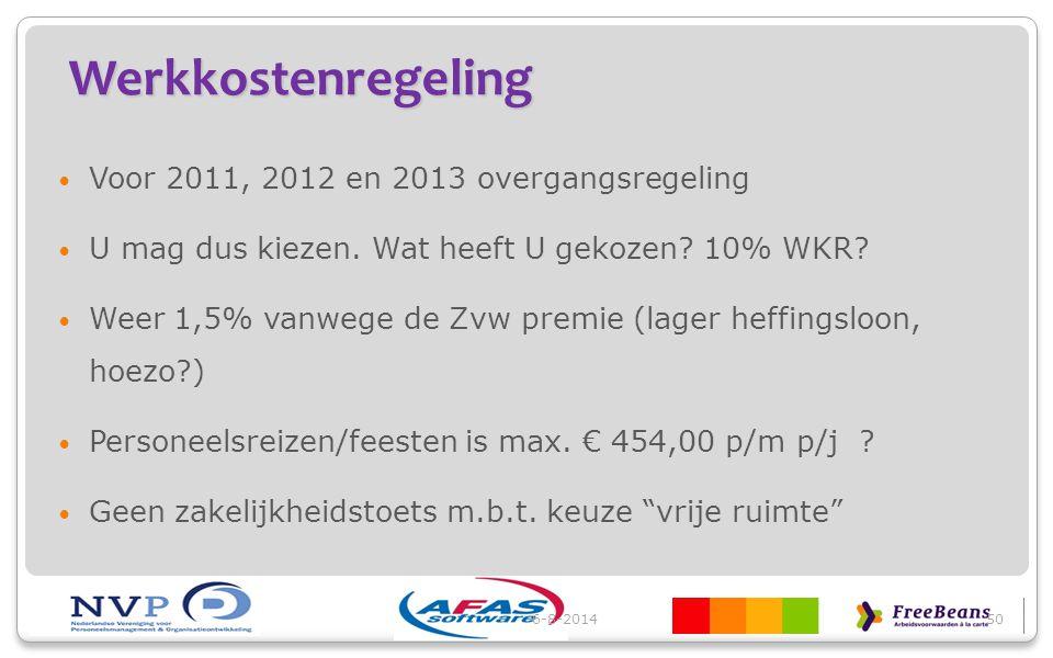 Werkkostenregeling Voor 2011, 2012 en 2013 overgangsregeling