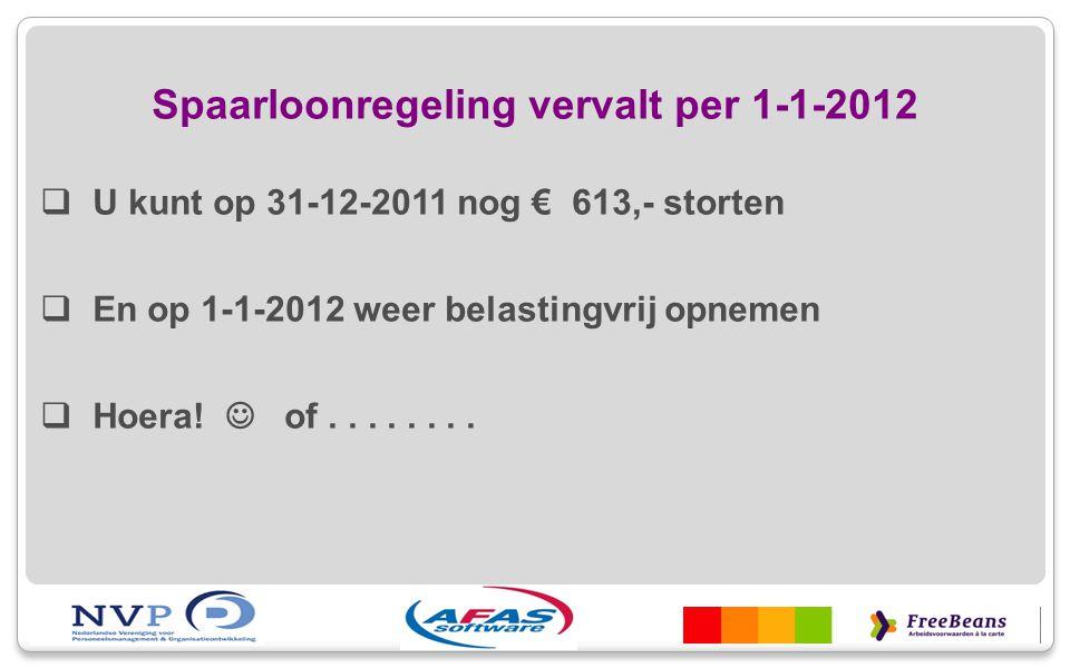 Spaarloonregeling vervalt per 1-1-2012