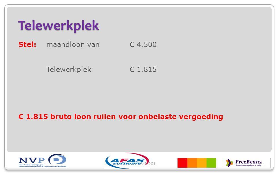 Telewerkplek Stel: maandloon van € 4.500 Telewerkplek € 1.815 € 1.815 bruto loon ruilen voor onbelaste vergoeding