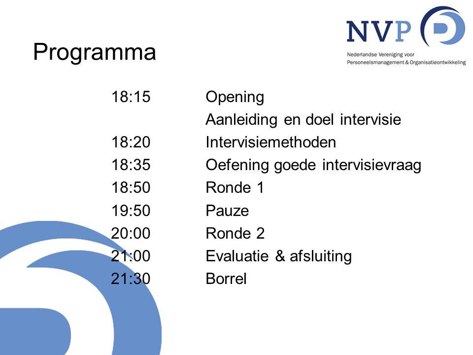 Programma 18:15 Opening Aanleiding en doel intervisie