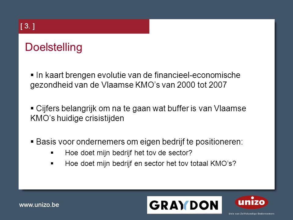 Doelstelling In kaart brengen evolutie van de financieel-economische gezondheid van de Vlaamse KMO's van 2000 tot 2007.
